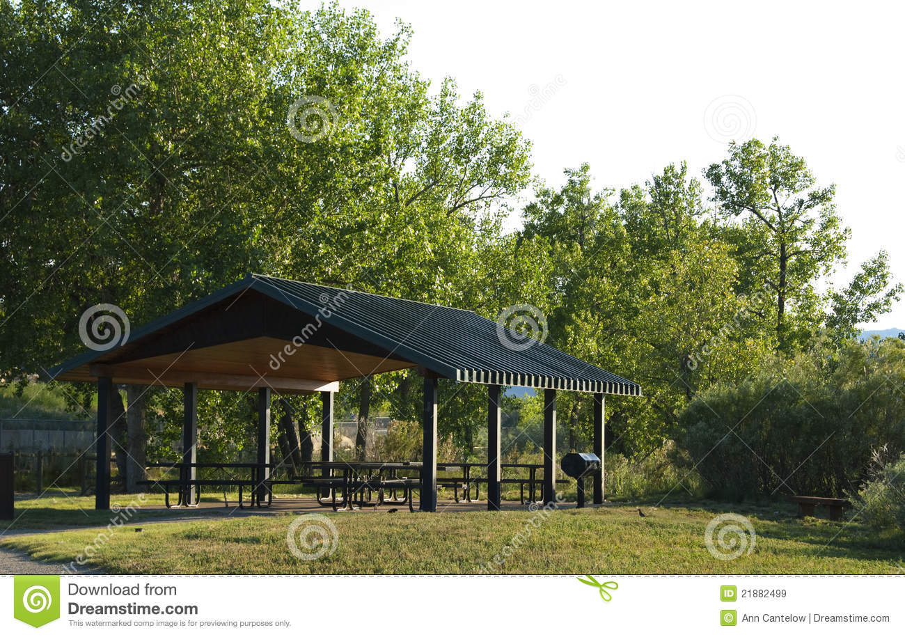 Public Picnic Shelter In An Open Space Park Area Royalty