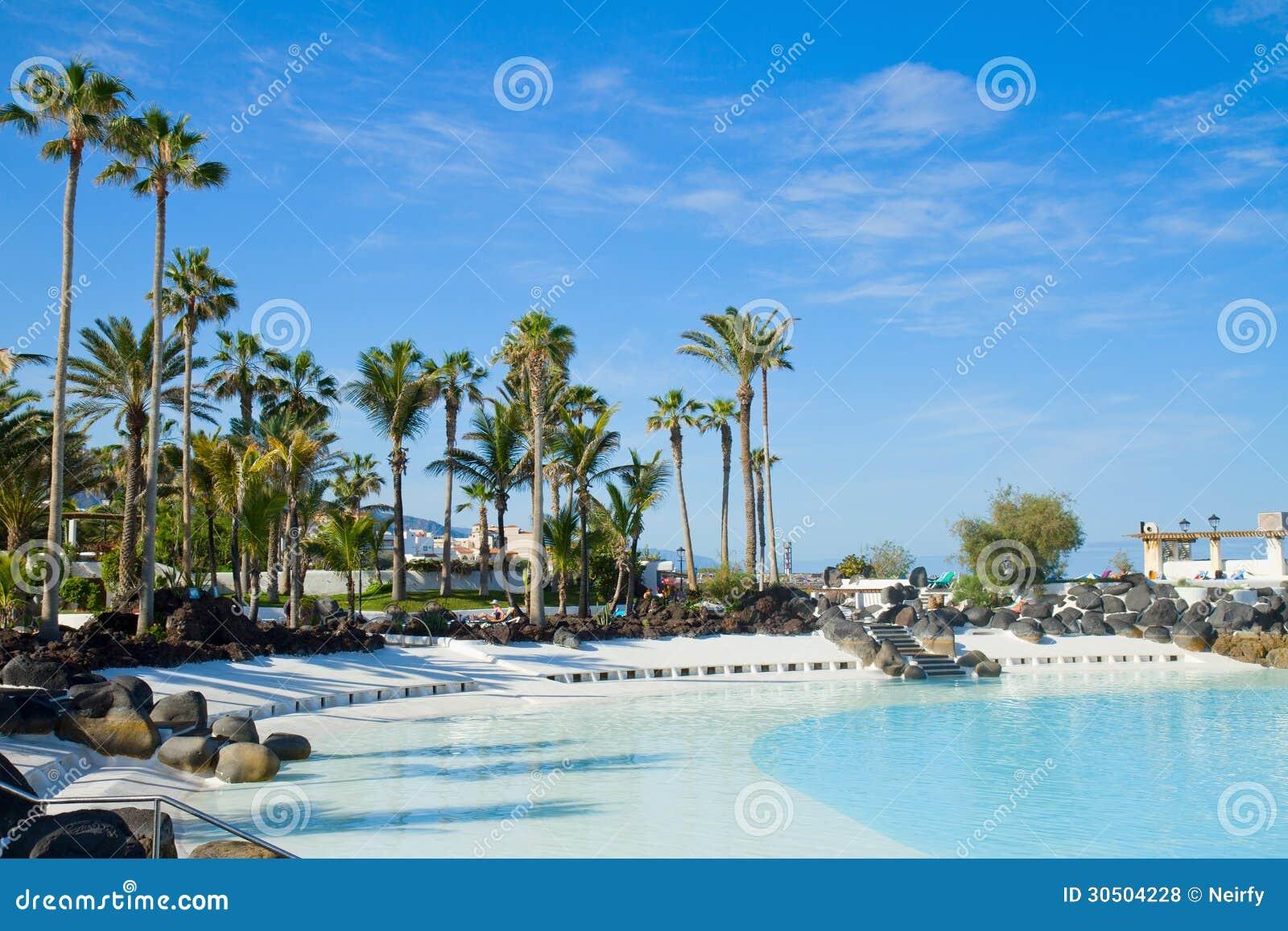 Public pools at puerto cruz tenerife spain royalty free - Swimming pool in spanish language ...
