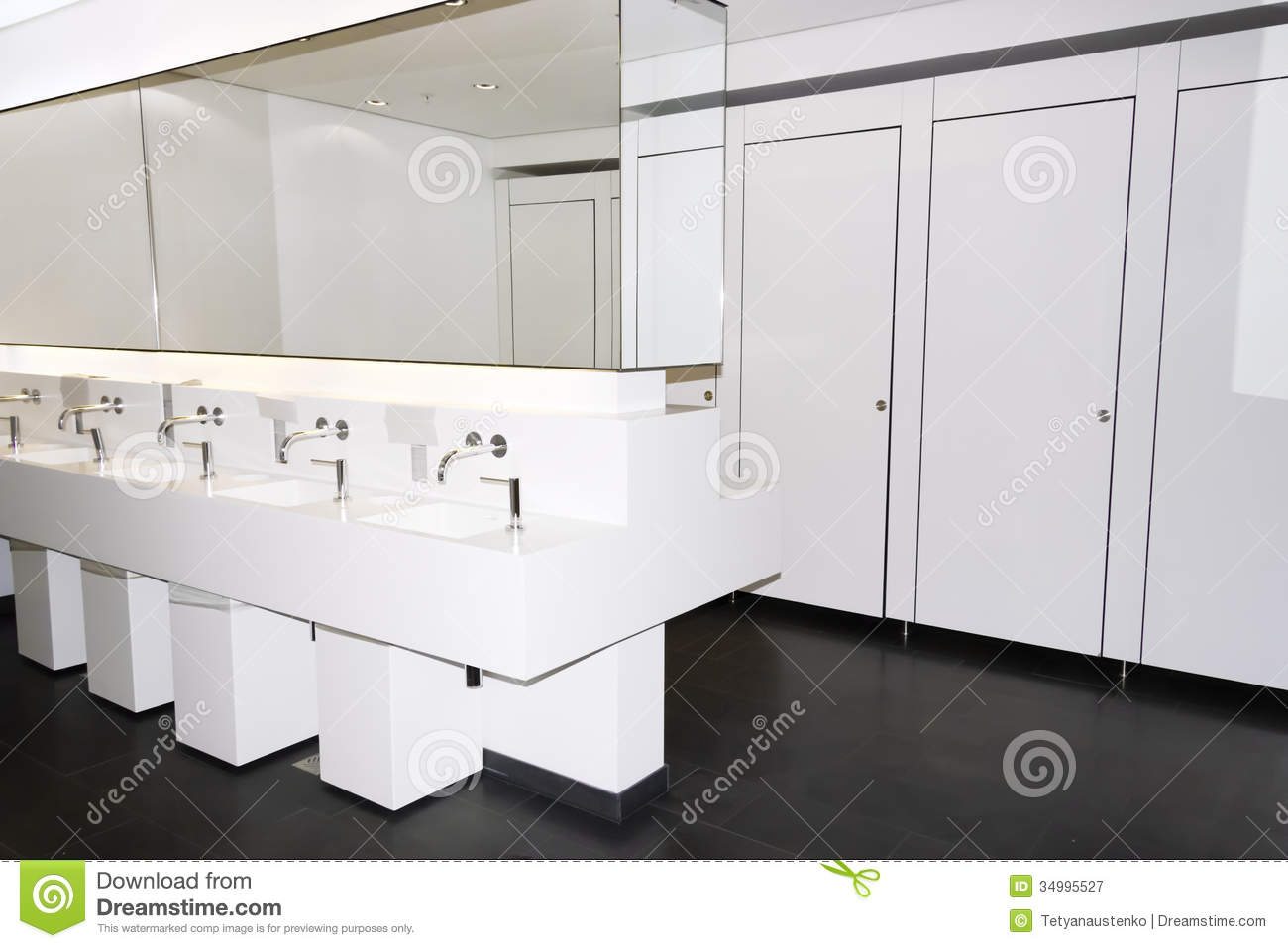 Modern Public Restroom With Mirrors And Washbasins