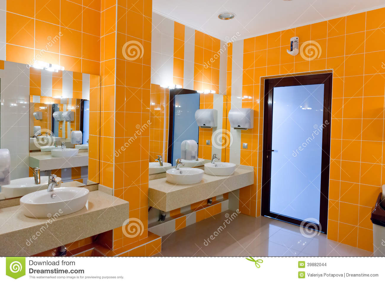 Public Restroom With Washstands Mirror Stock Photo Image 39882044