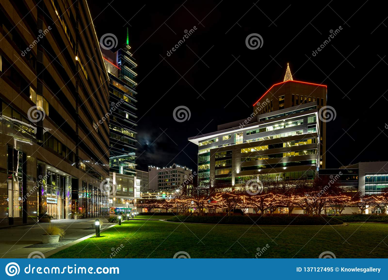 Christmas Lights Boise.Public Square In Downtown Boise Idaho At Night With Many