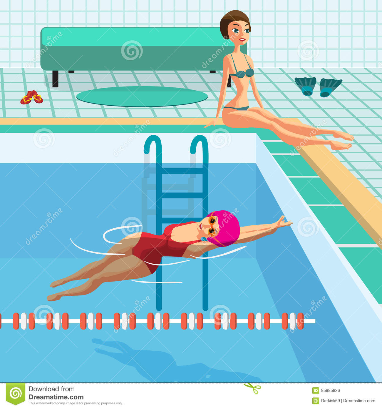 Cartoon Young Swimmer In The Swimming Pool Vector Illustration 56088494