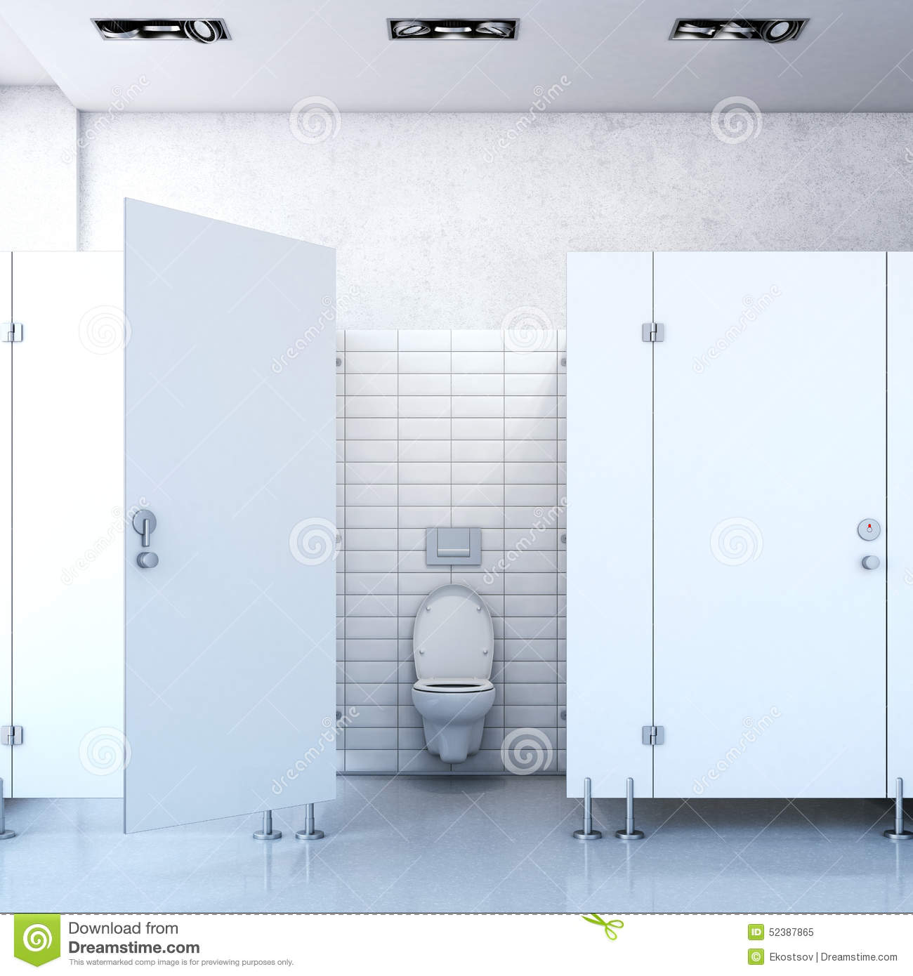 Public Toilet Cubicle 3d Rendering Stock Image Image Of