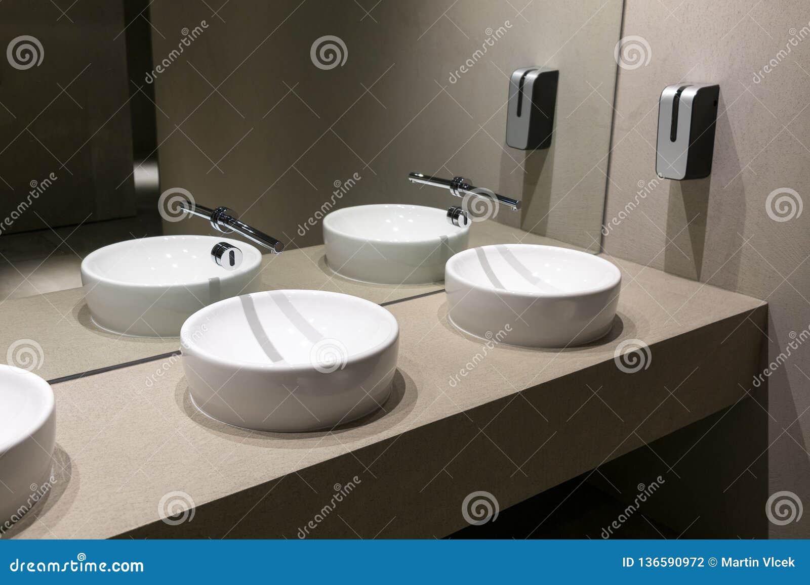 Public Toilet With Modern Wash Basins Stock Photo Image Of White Public 136590972