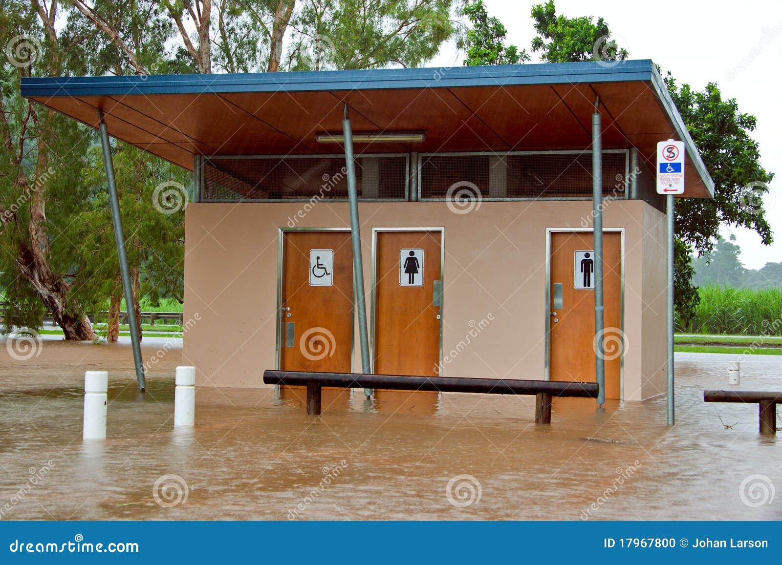 Public Toilets Flooded In Queensland Australia Stock