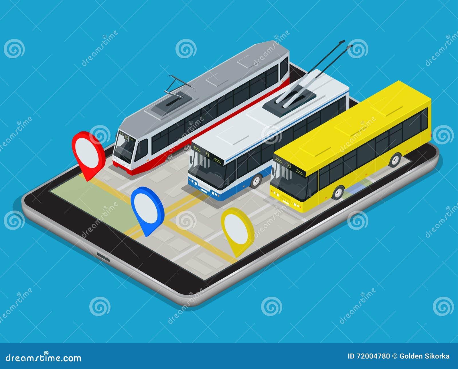public transport trolleybus, bus, tram . online schedule app for