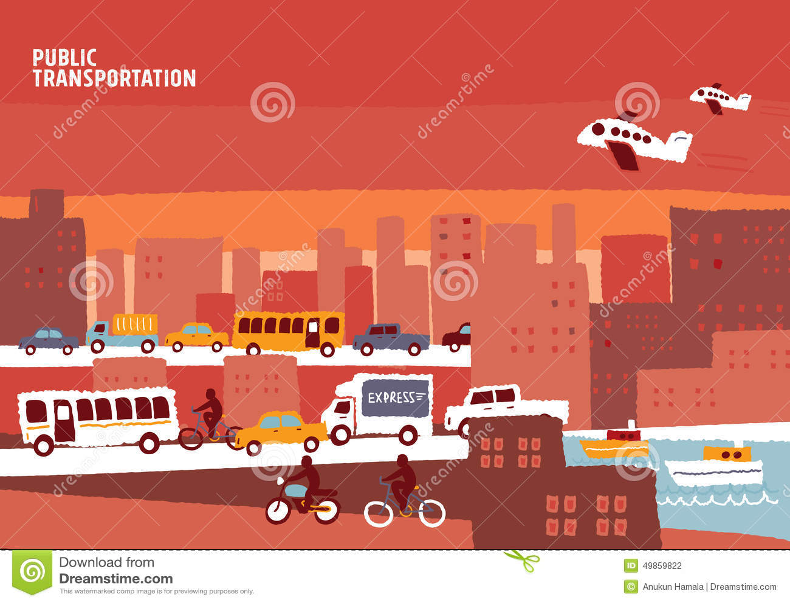Public Transportation Info Graphic City Stock Vector