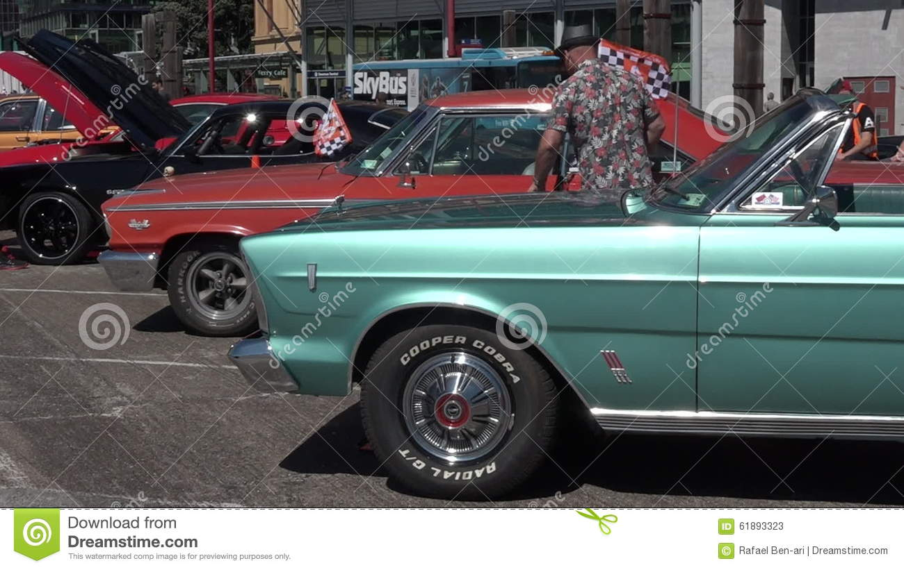 Public US Classic Muscle Car Show In Auckland, New Zealand Stock ...