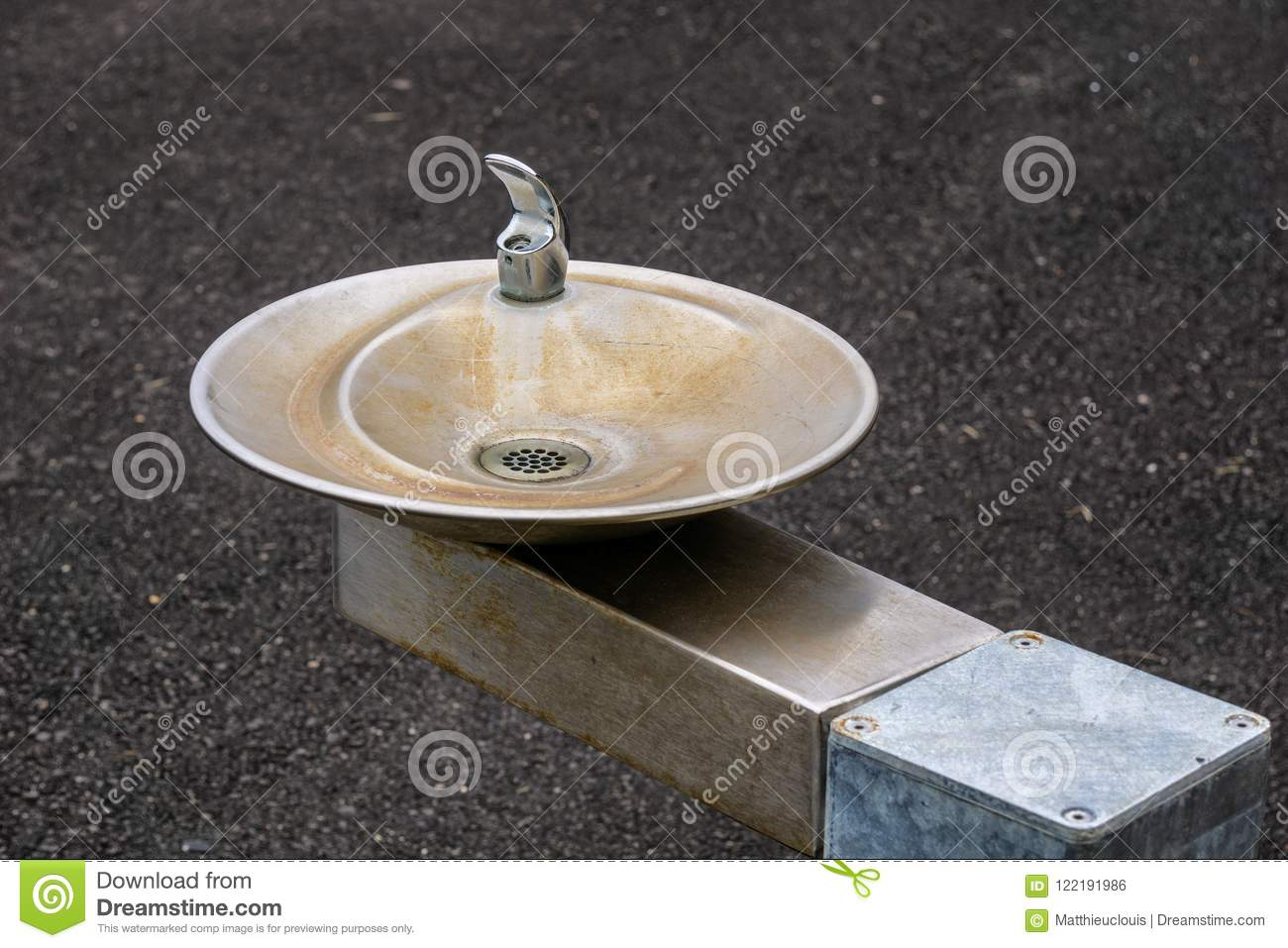 Public Water Fountain With Small Basin And Faucet Stock Photo ...
