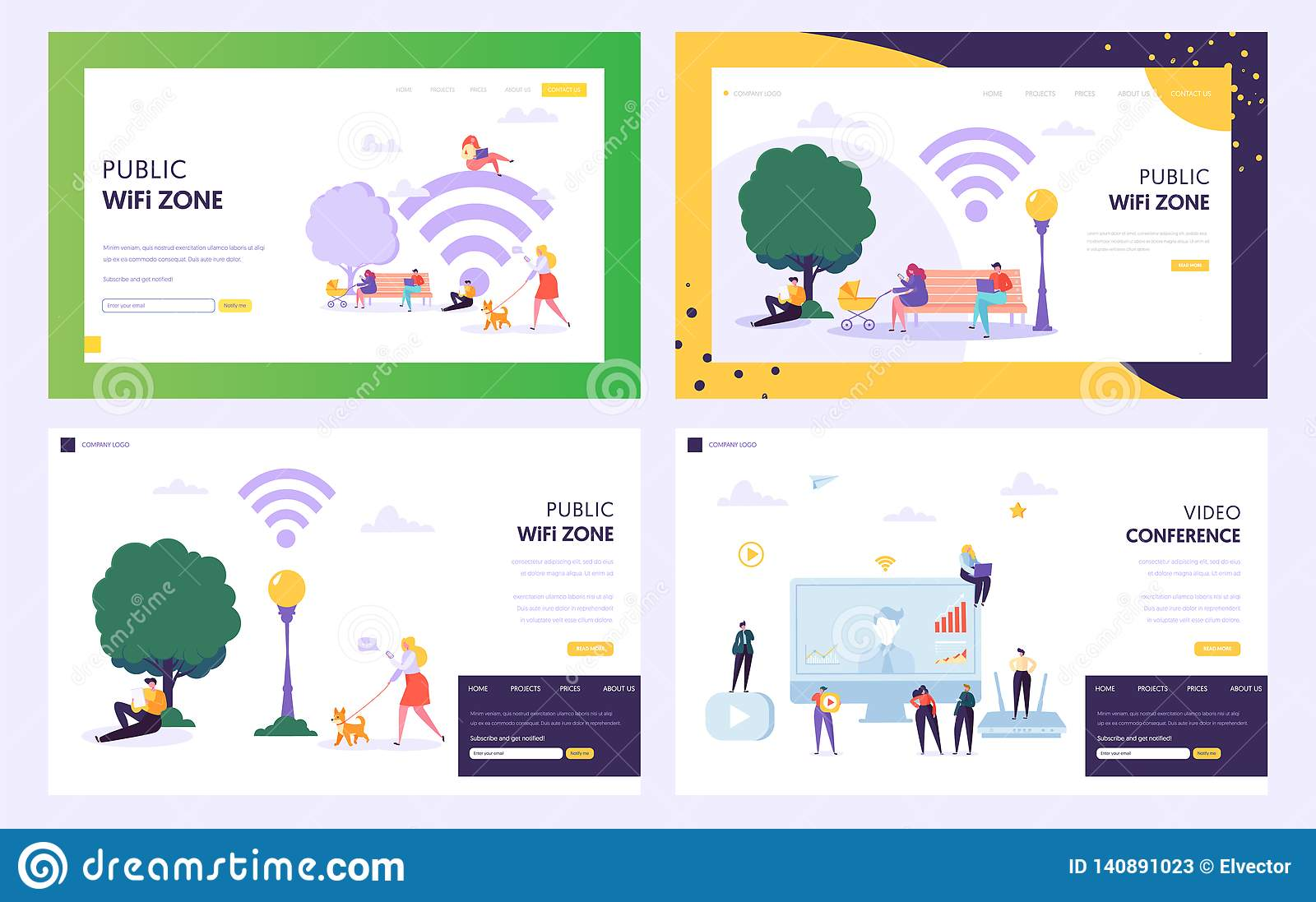 Public WiFi Hotspot Zone Concept Landing Page  Male And