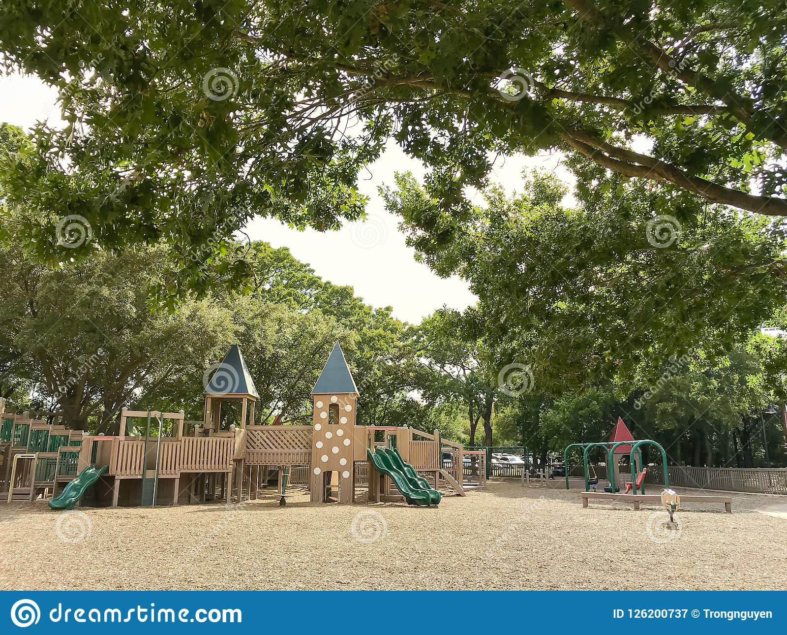 Public Wooden Castle Style Children Playground In Coppell Texas