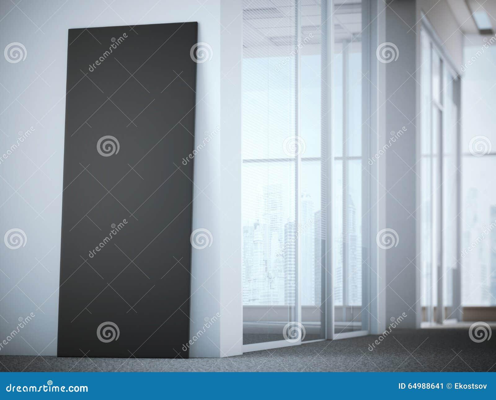 Publicidad del soporte en interior brillante de la oficina representación 3d