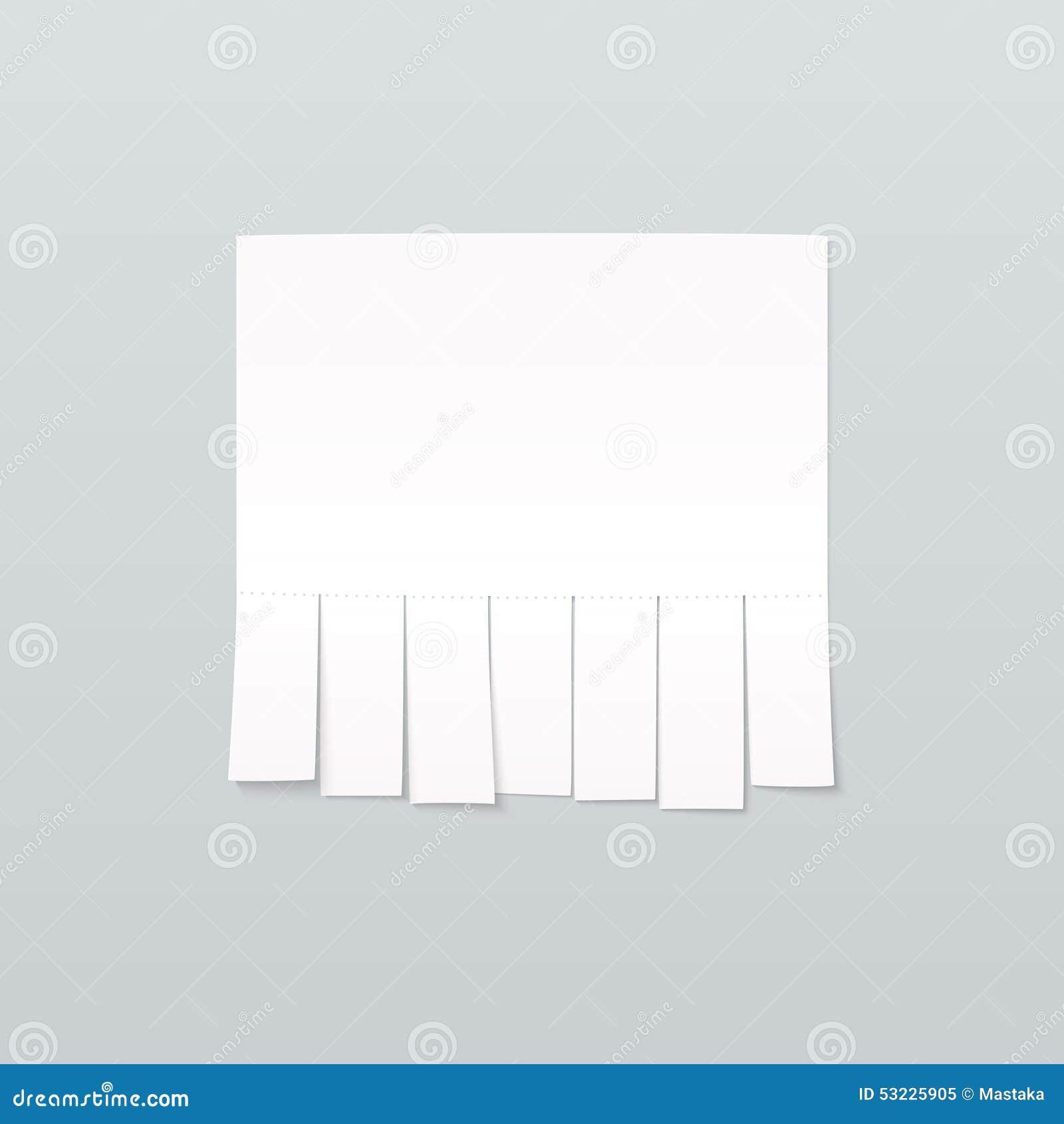 Publicidad en blanco de la hoja de papel con resbalones del corte