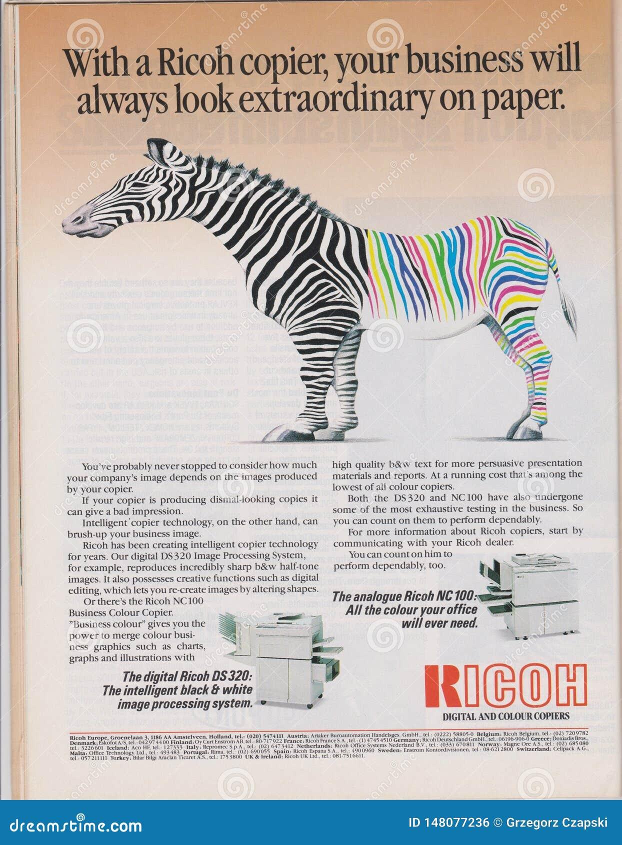 Publicité par affichage Ricoh numérique et machine de copieurs de couleur en magazine à partir de 1992