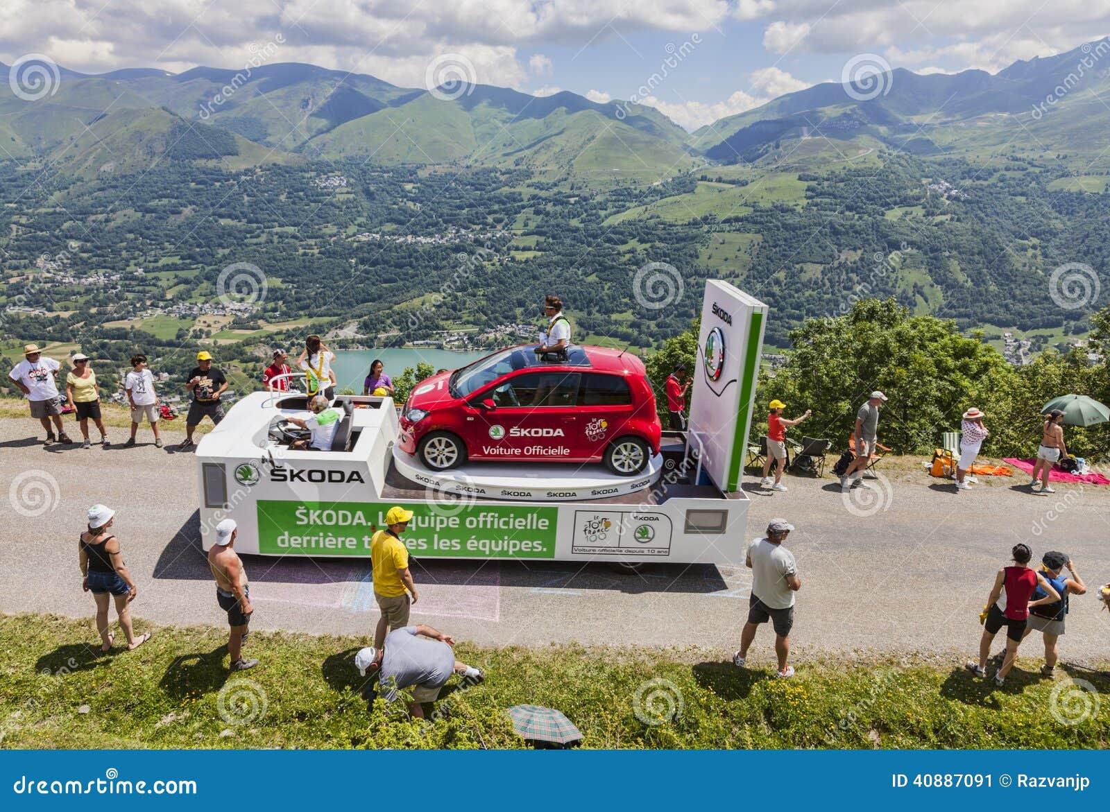 Publiciteitscaravan in de Pyreneeën