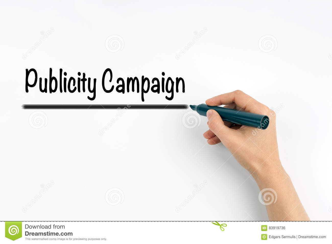Publicity Campaign. Hand with marker writing on a white background