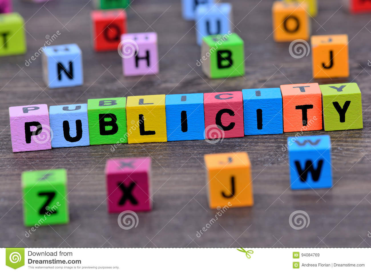 Publicity word on table