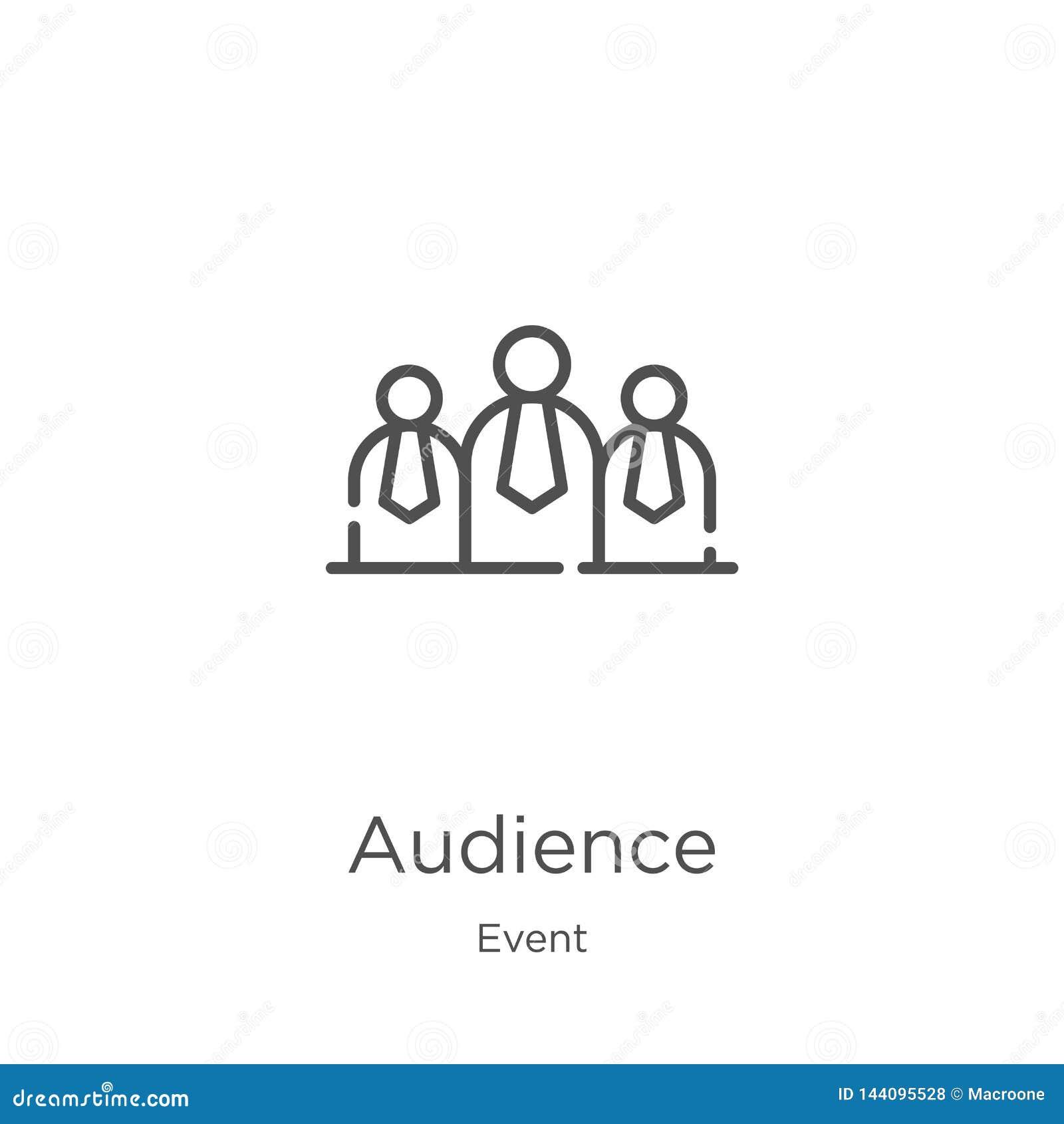 Publikumsikonenvektor von der Ereignissammlung Dünne Linie Publikumsentwurfsikonen-Vektorillustration Entwurf, dünne Linie Publik