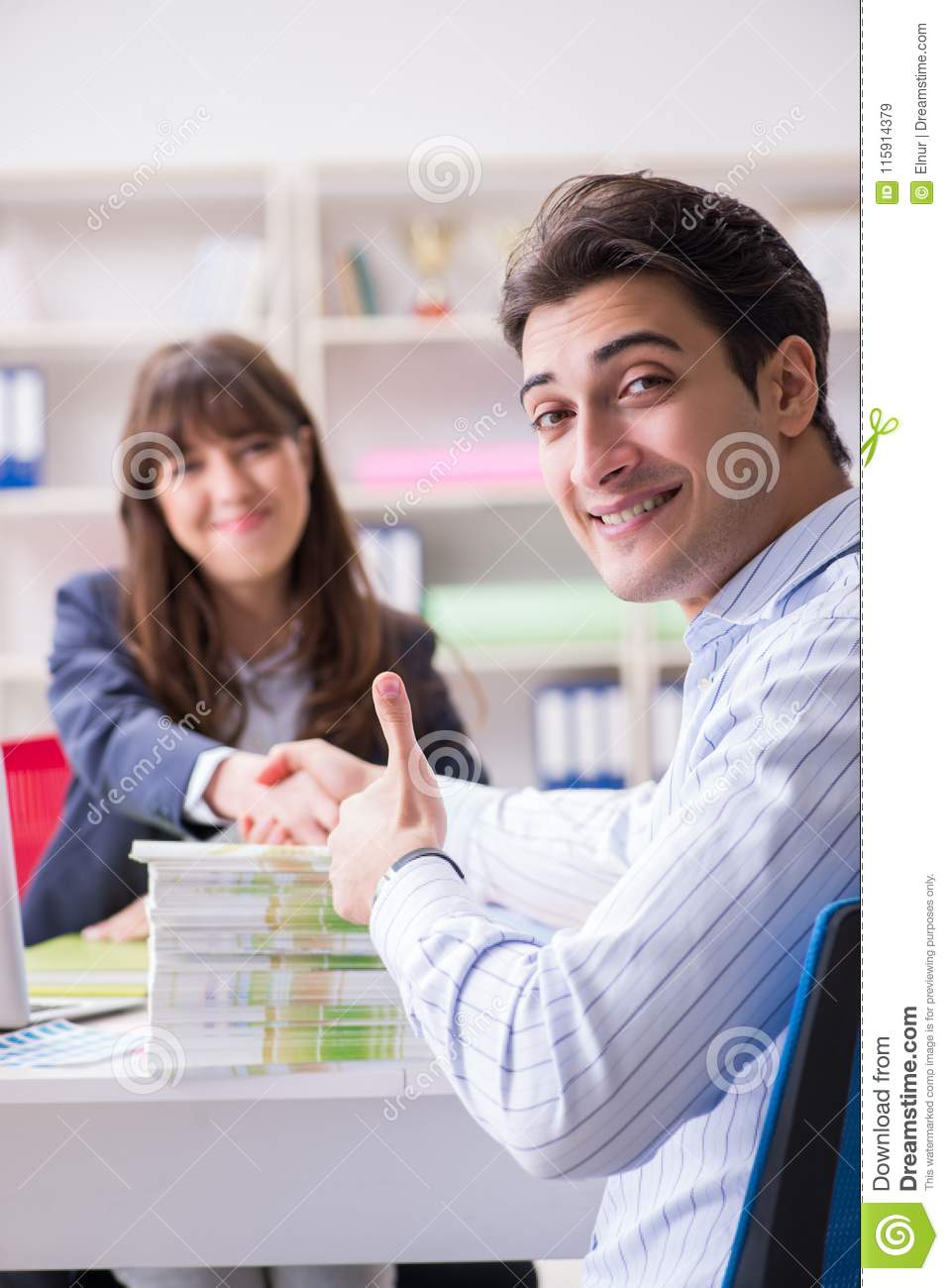 Pulisher Discussing Book Order With Customer Stock Image