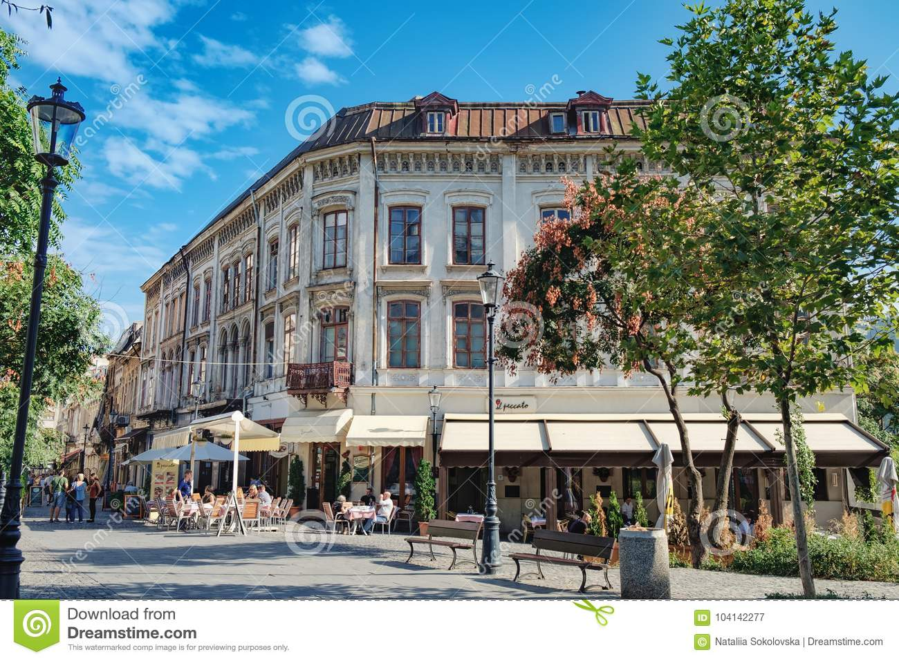 Pubs And Restaurants In Old Town Of Bucharest Editorial Photography