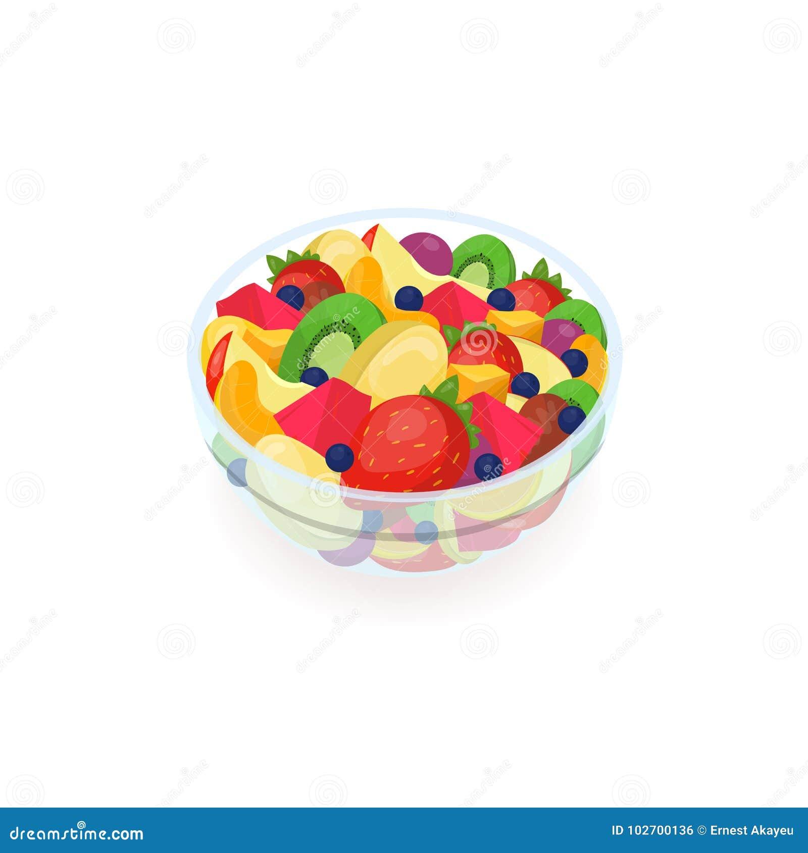 Puchar robić świeże egzotyczne owoc odizolowywać na białym tle smakowita sałatka Wyśmienicie domowej roboty naczynie, zdrowy wega
