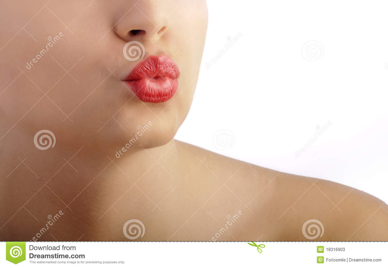 Puckered kiss lips