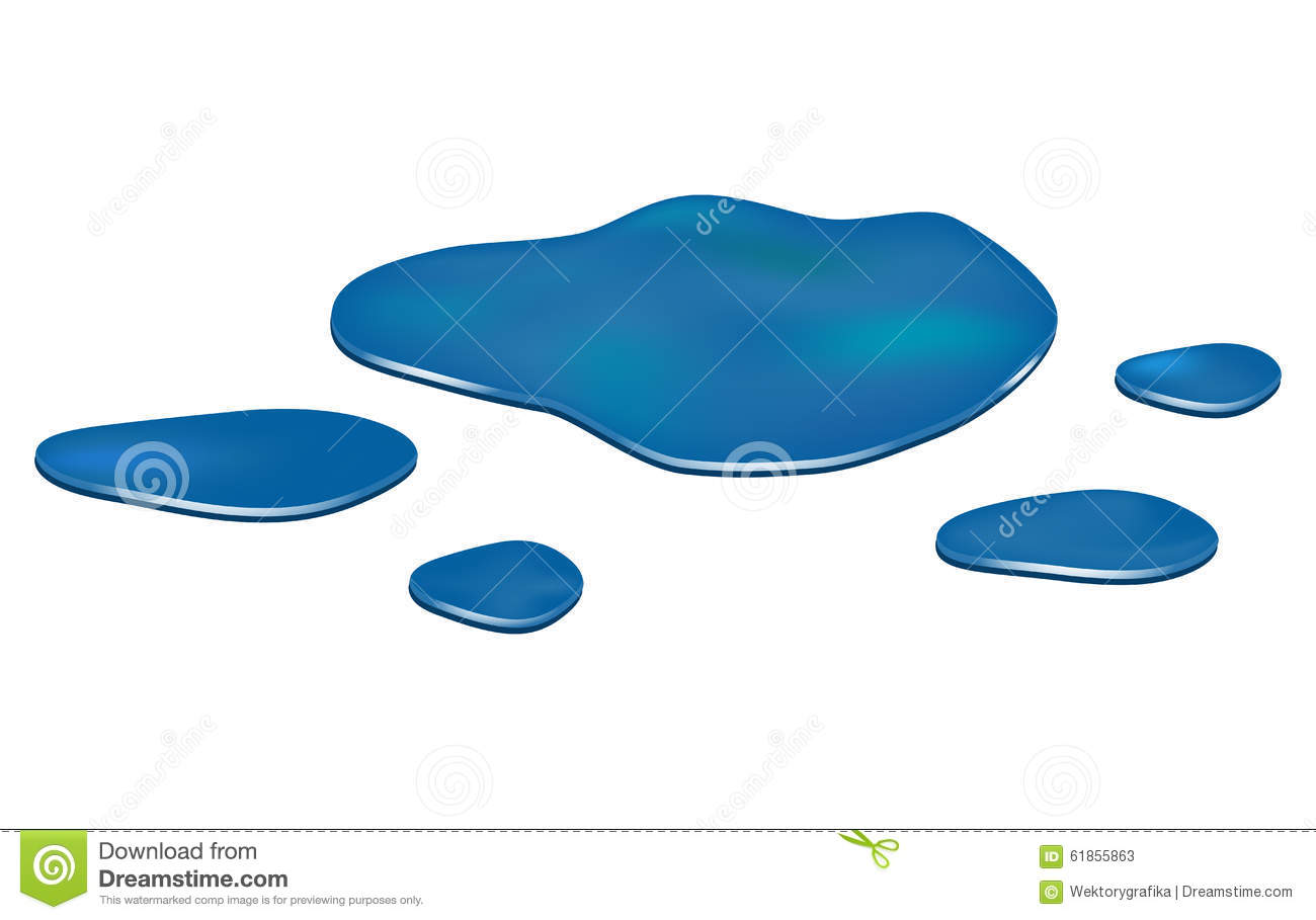 Stock Vector: Puddle of water spill clipart. Blue stain, plash, drop ...