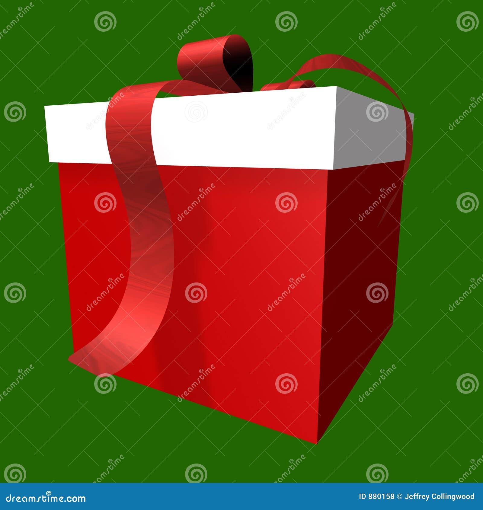 Pudełko daru czerwony white