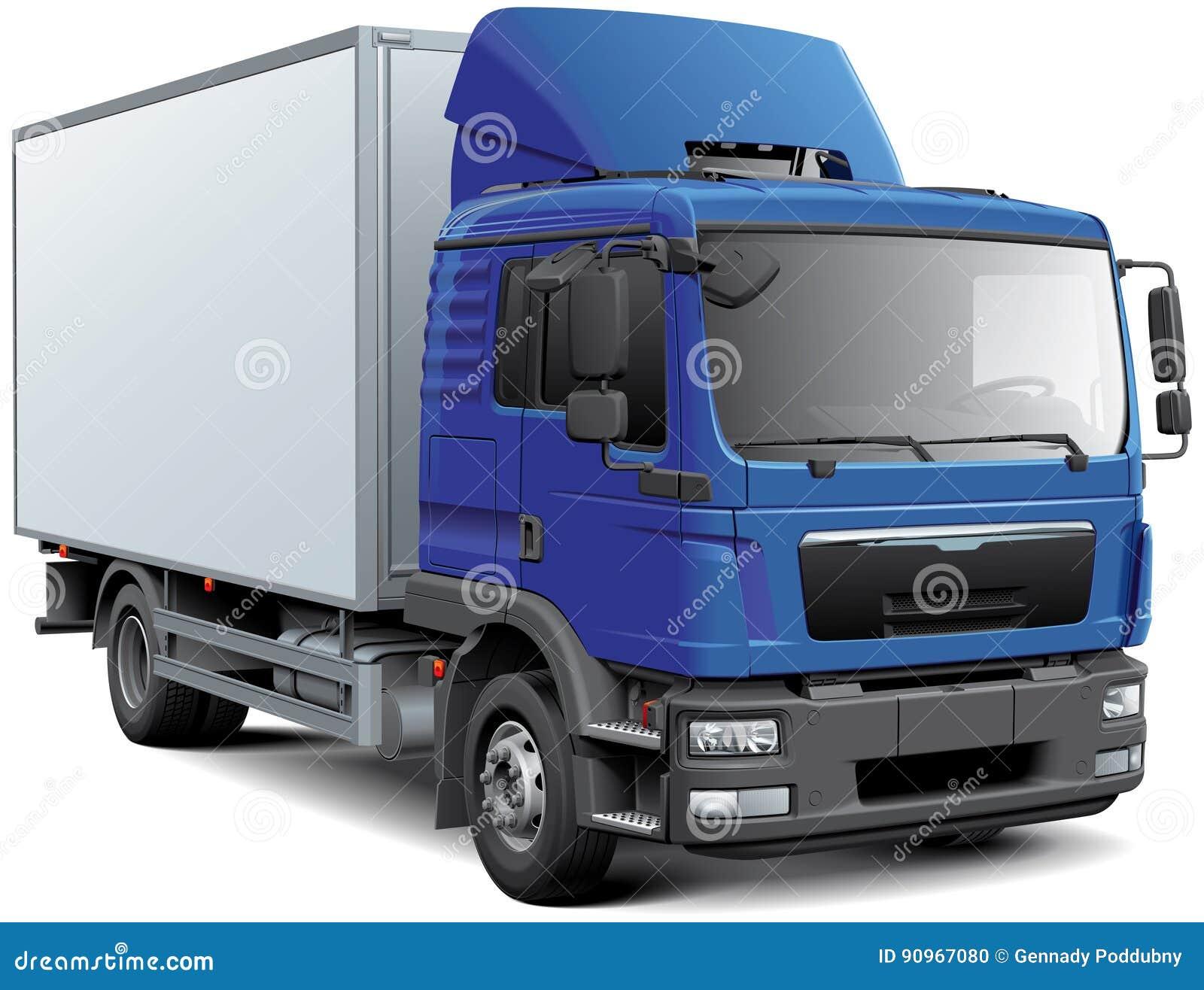 Pudełkowata ciężarówka z błękitnym cabine