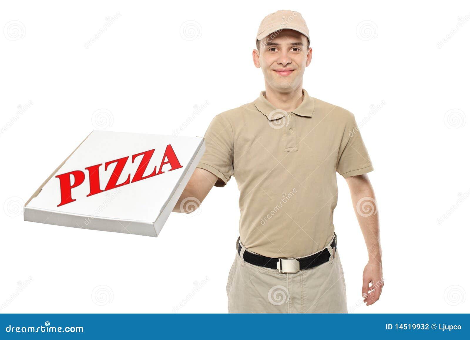 Pudełkowatego chłopiec dowiezienia kartonowa doręczeniowa pizza