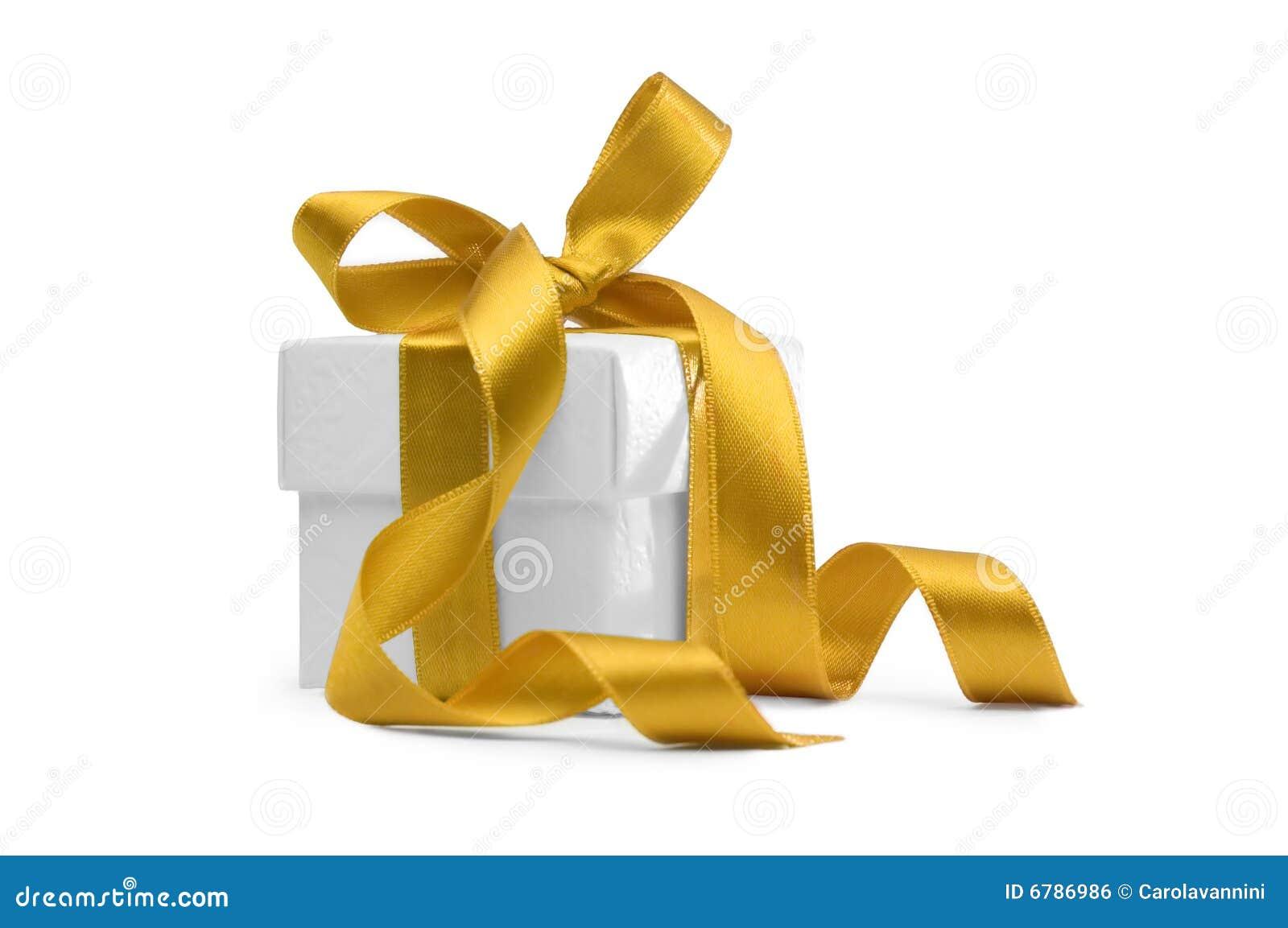 Pudełkowaty teraźniejszy tasiemkowy kolor żółty