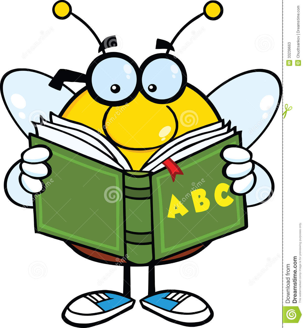 Pudgy Bee Cartoon Character With Glasses Reading A ABC Book Stock ...