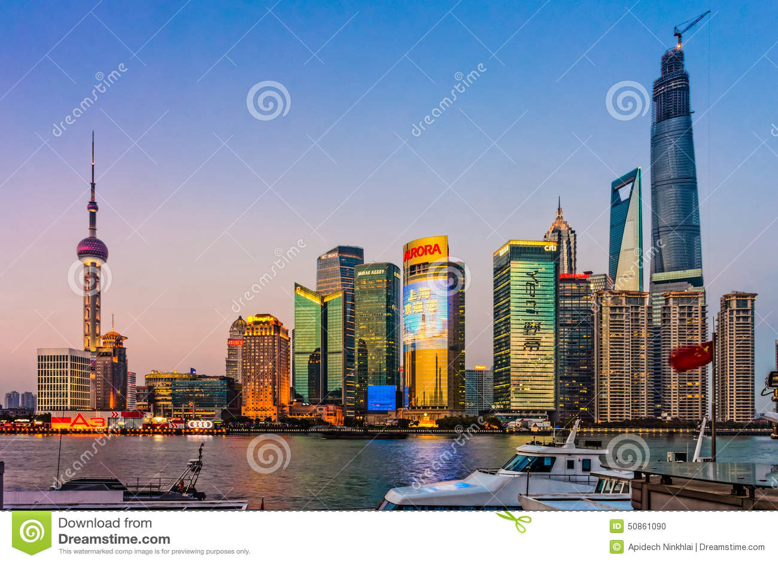 Landmarks Of Shanghai,group Of Modern Business Buildings ...