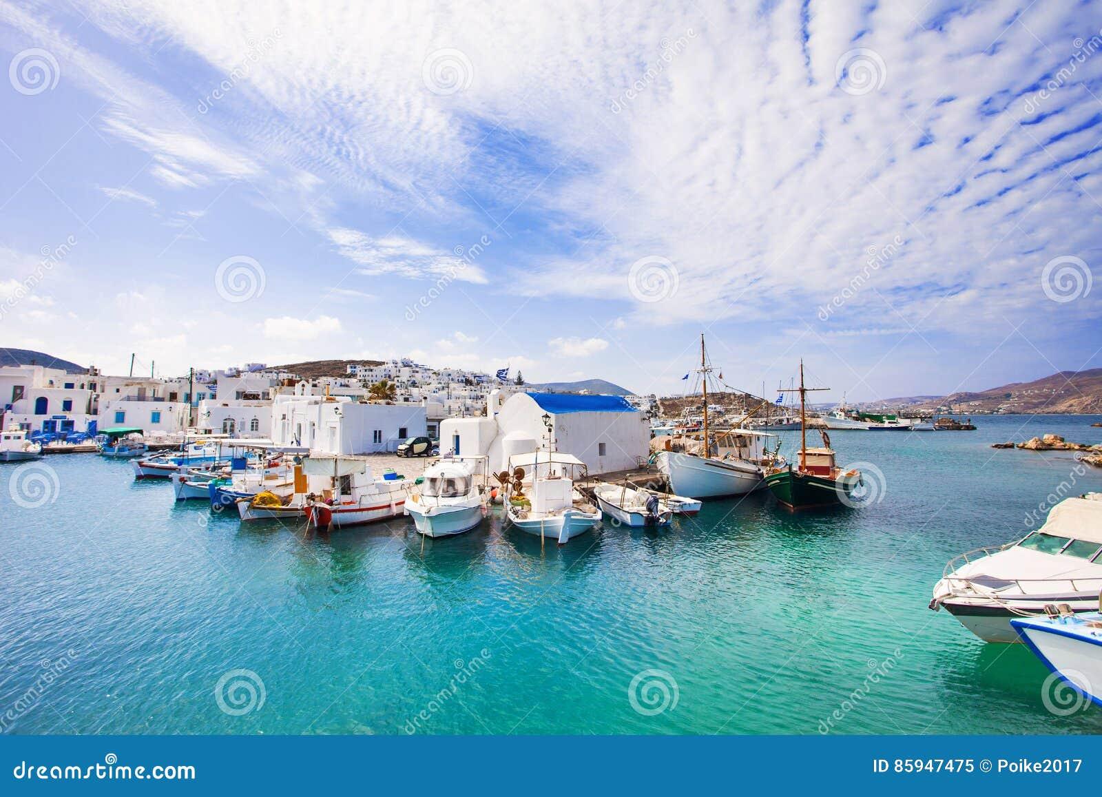 Pueblo hermoso de Naousa, isla de Paros, Cícladas, Grecia