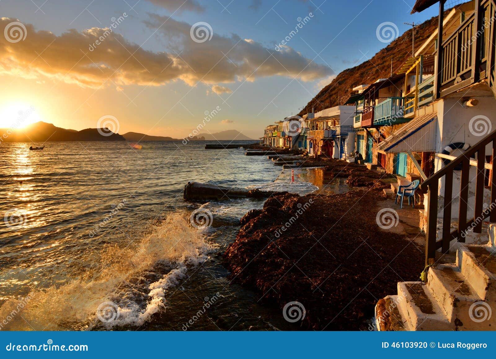 Pueblo pesquero tradicional Klima, Milos Islas de Cícladas Grecia