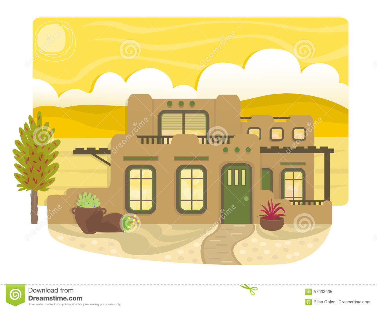 Pueblo style house stock vector image 57033035 for Pueblo style home plans