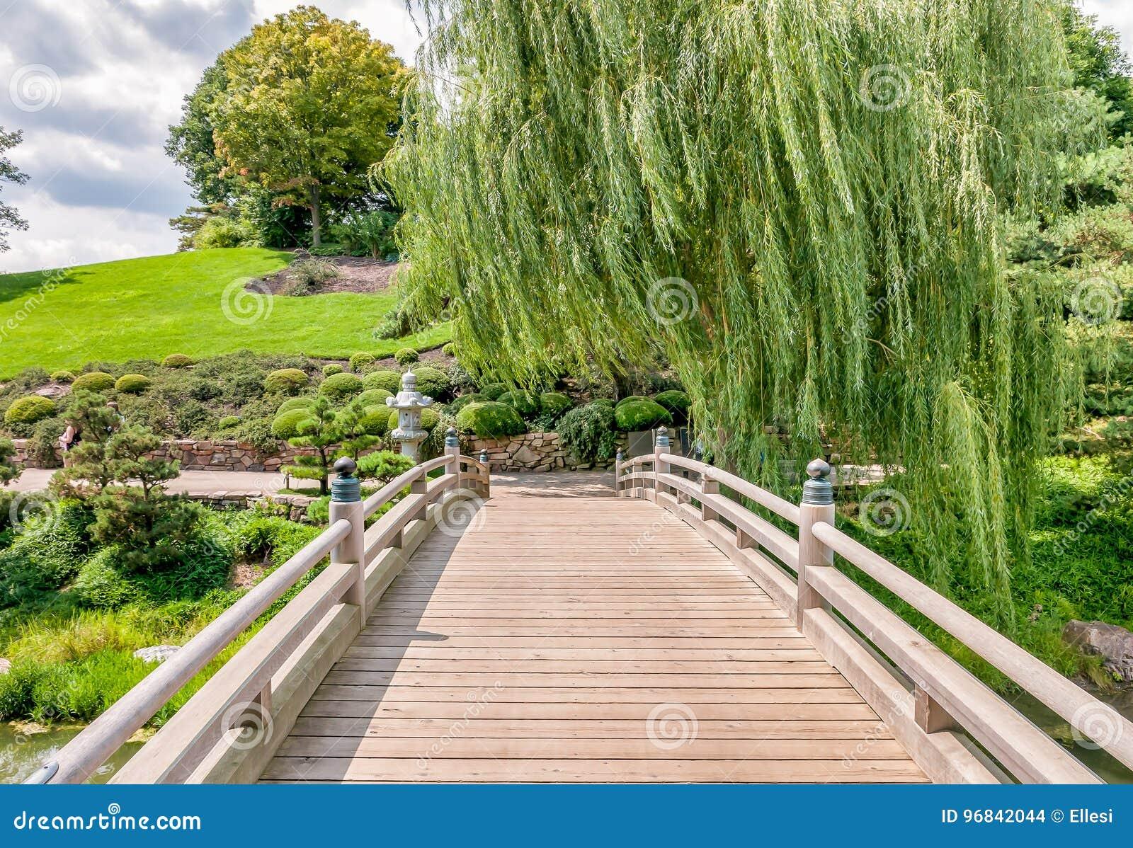 Puente al área japonesa del jardín en el jardín botánico de Chicago