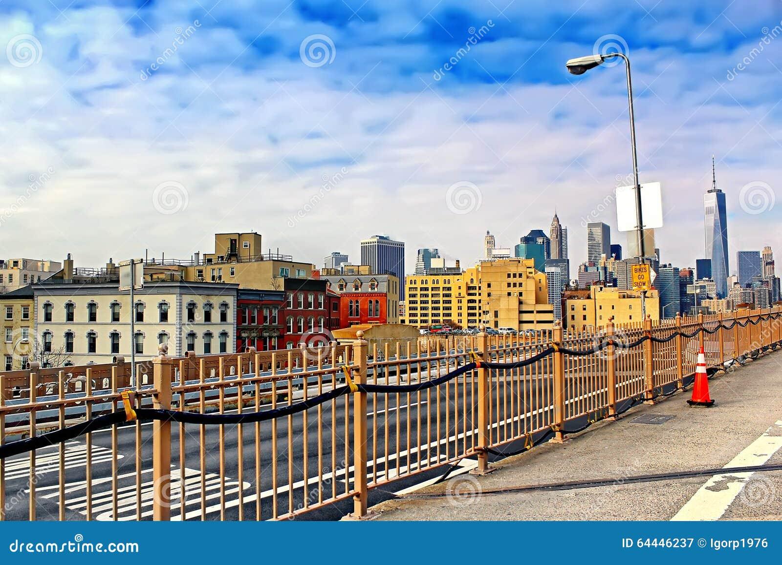 brooklyn ciudad horizonte manhattan puente rascacielos york