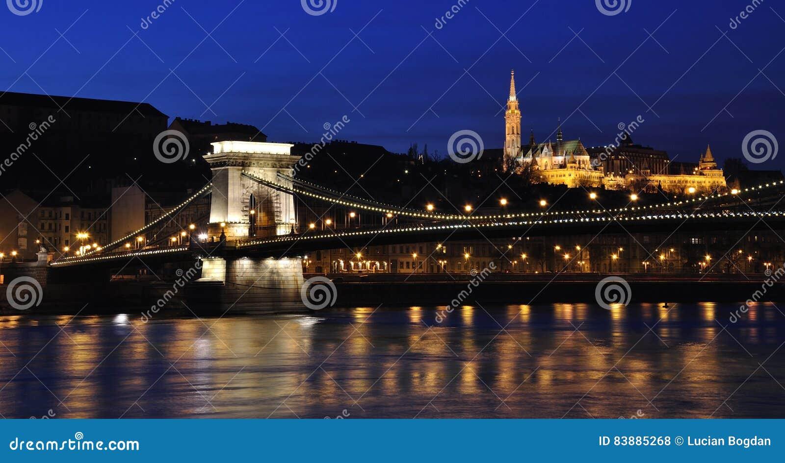 Puente de cadena sobre el Danubio