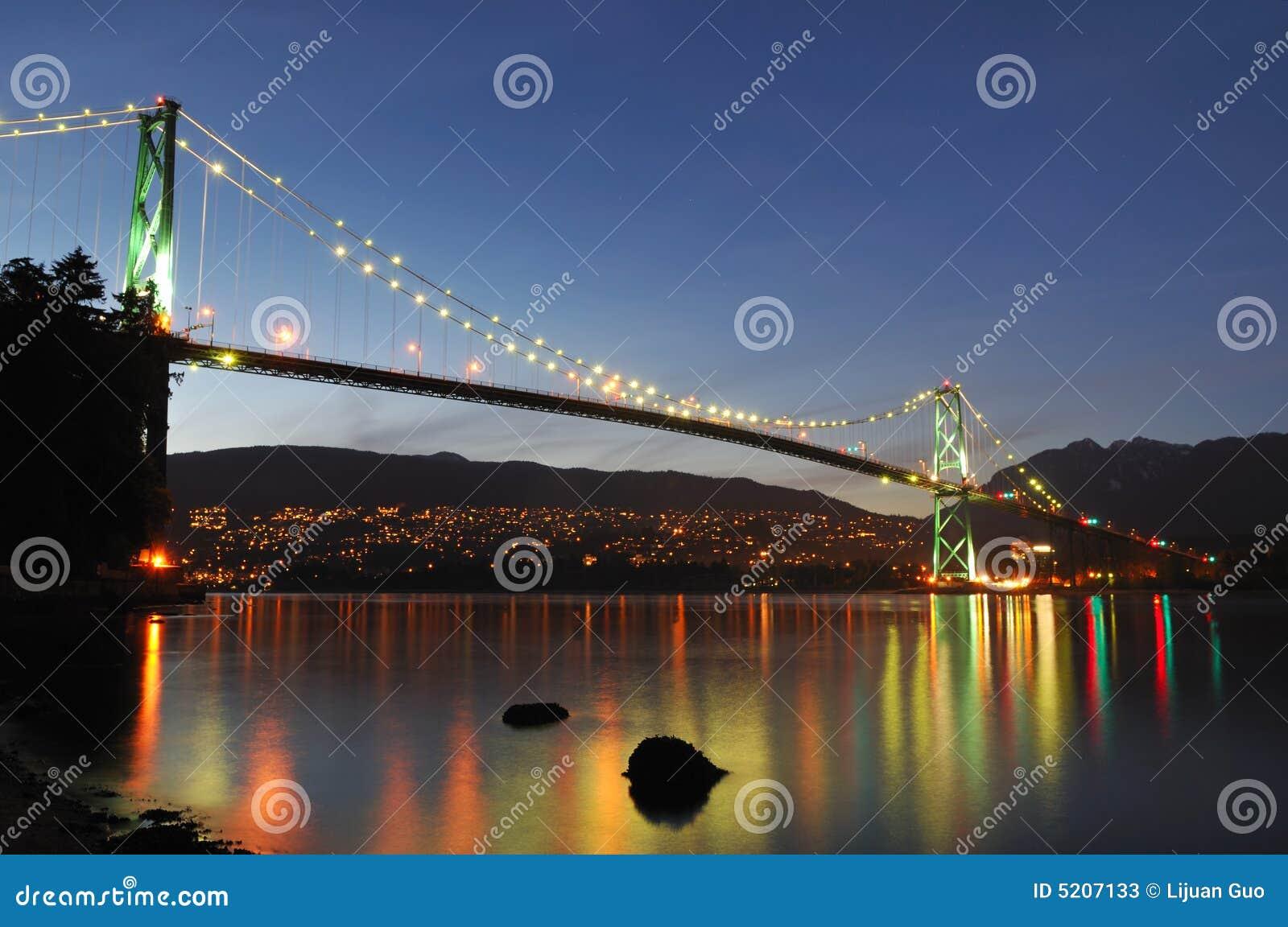 Puente de la puerta de los leones en la noche