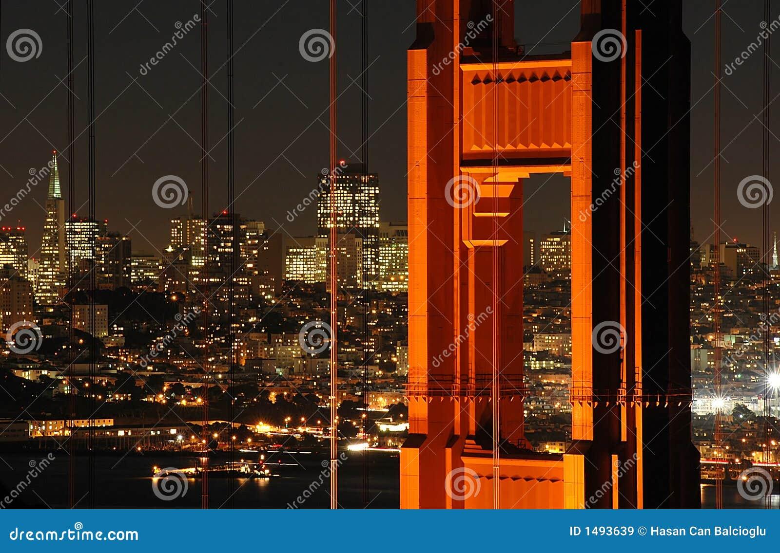 Puente de puerta de oro y San Francisco en la noche