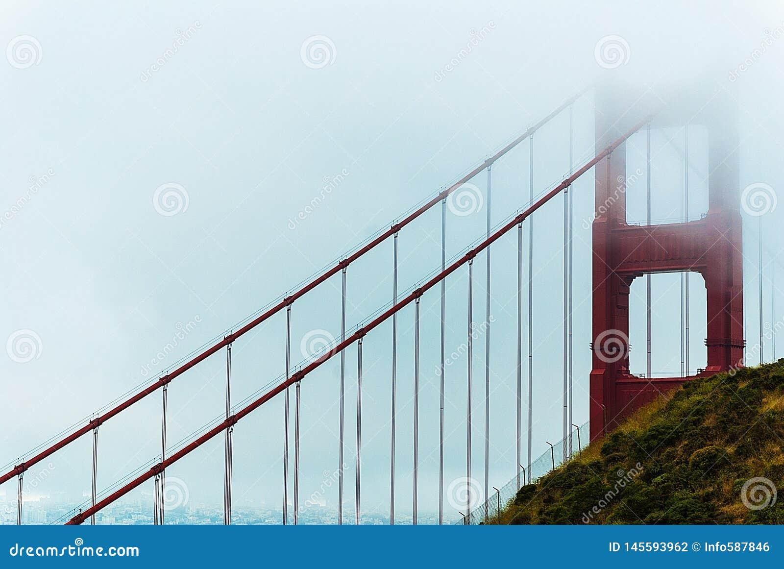Puente de puerta de oro en niebla