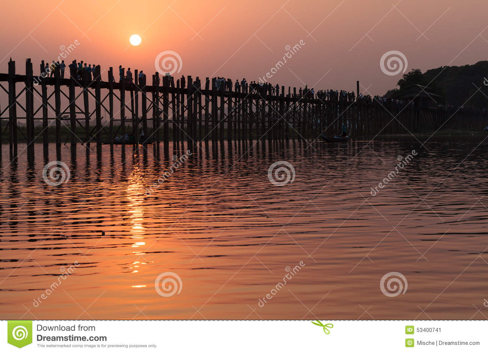 Puente del Teakwood U Bein, Myanmar