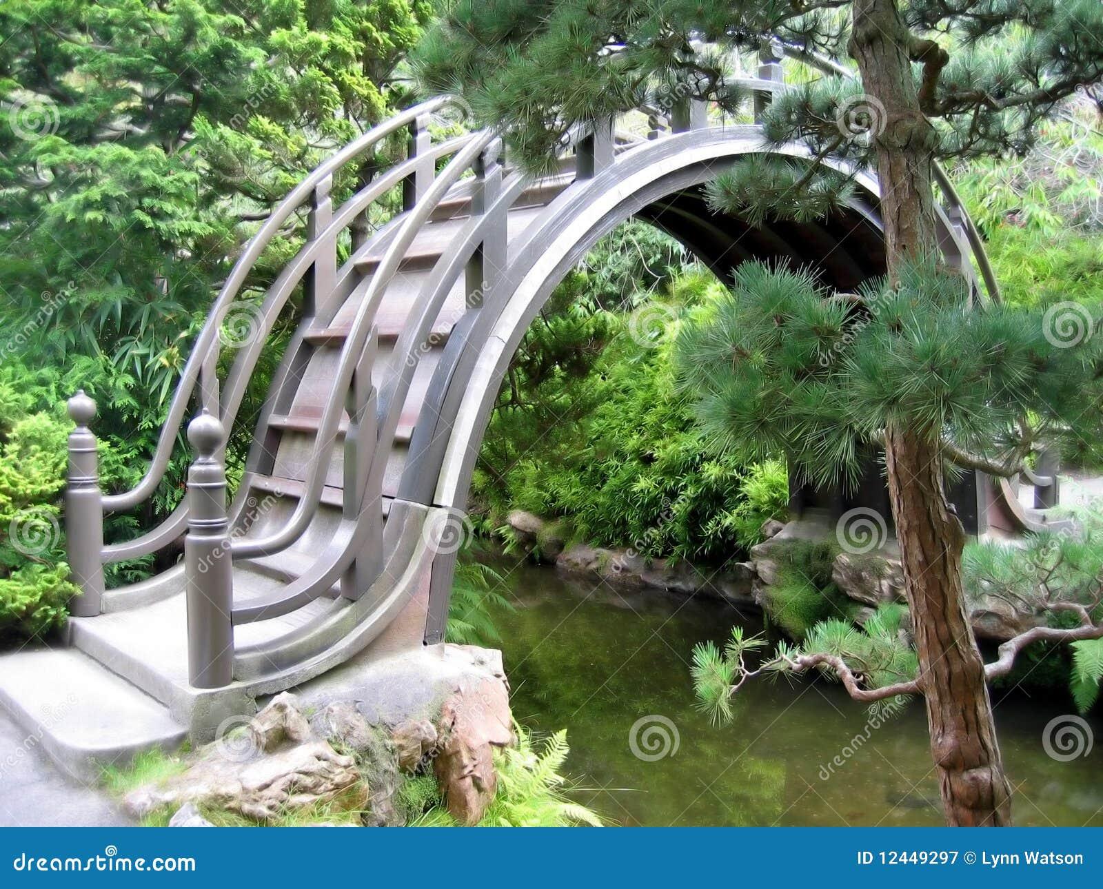 Puente en jard n japon s imagen de archivo imagen de for Jardin japones hagiwara de san francisco