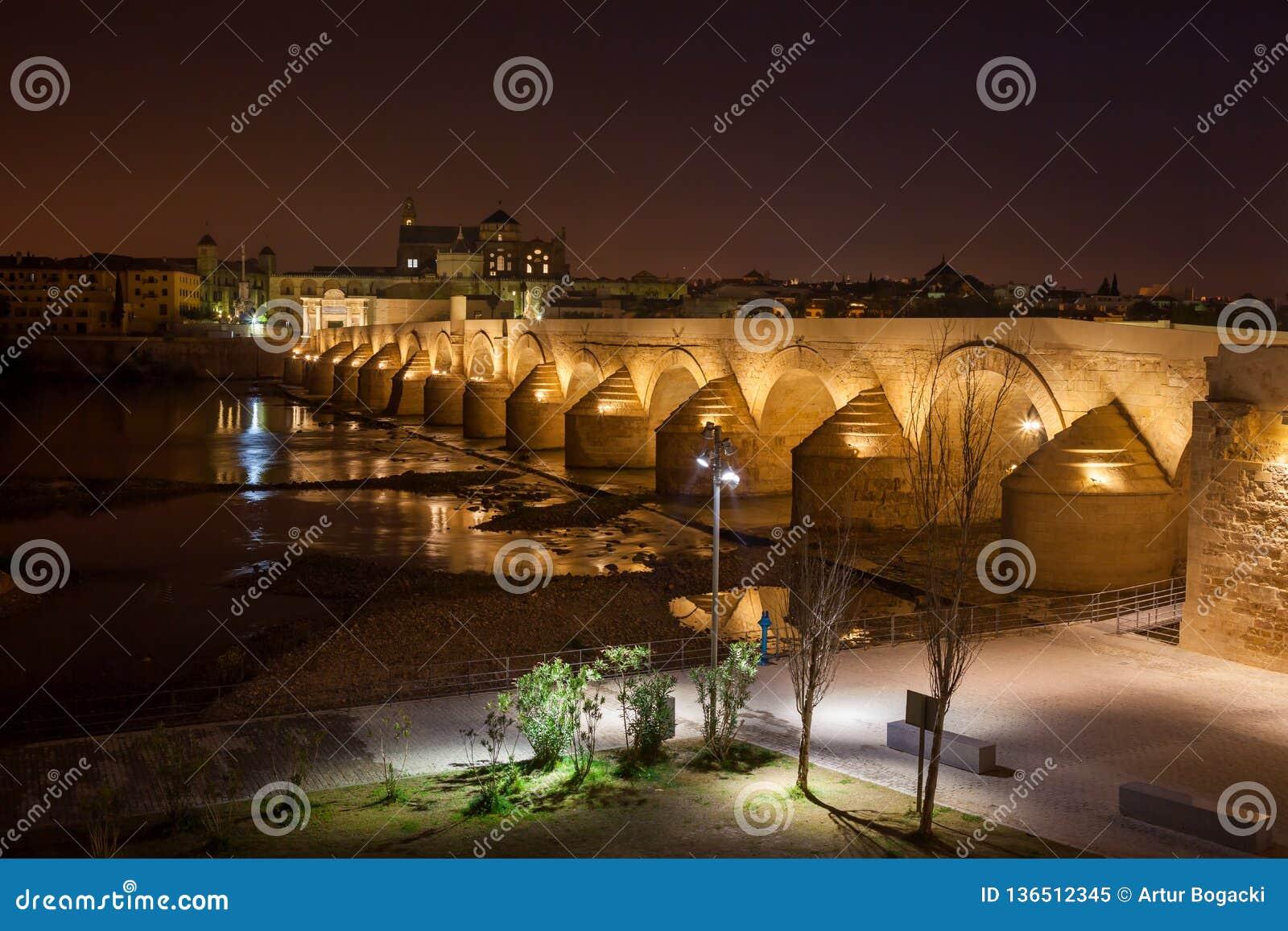 Puente Romano in Cordoba at Night