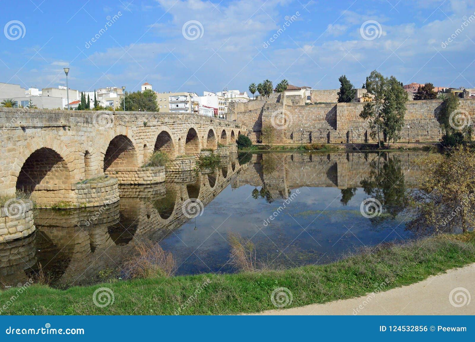 Puente Romana, Roman Bridge and the Alcazaba Merida Spain