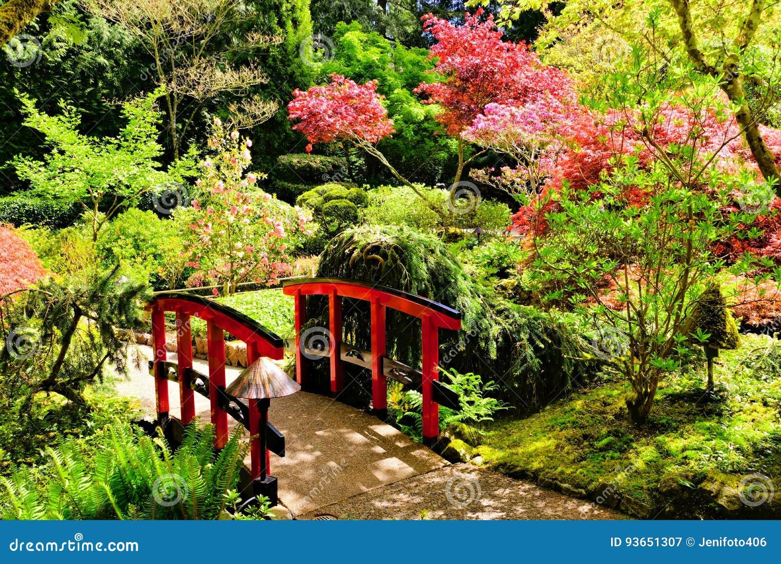 puente a travs de jardines japoneses hermosos foto de archivo