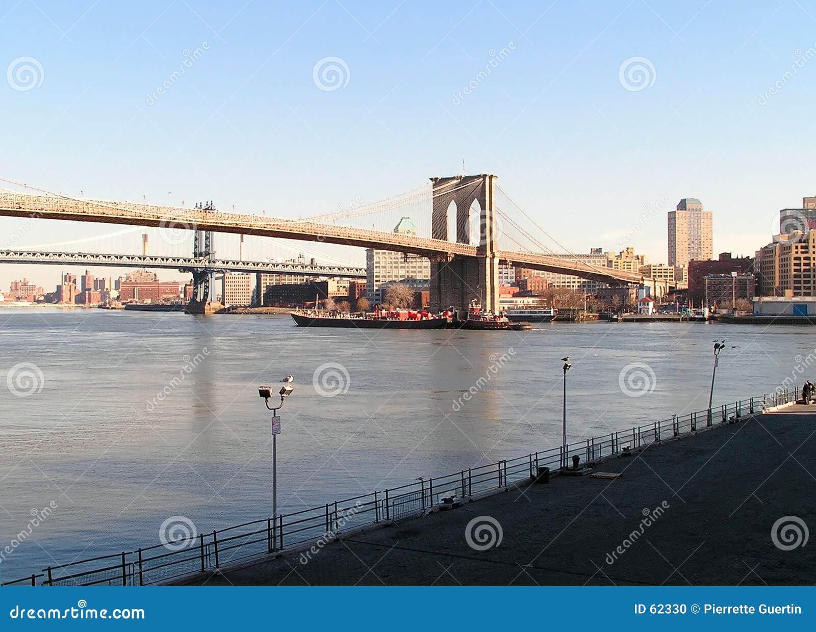 Puente y barco de Brooklyn