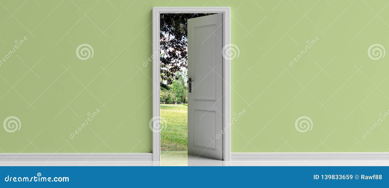 Puerta abierta en el fondo en colores pastel verde de la pared, opinión fuera de la abertura de la puerta, del parque ejemplo 3d