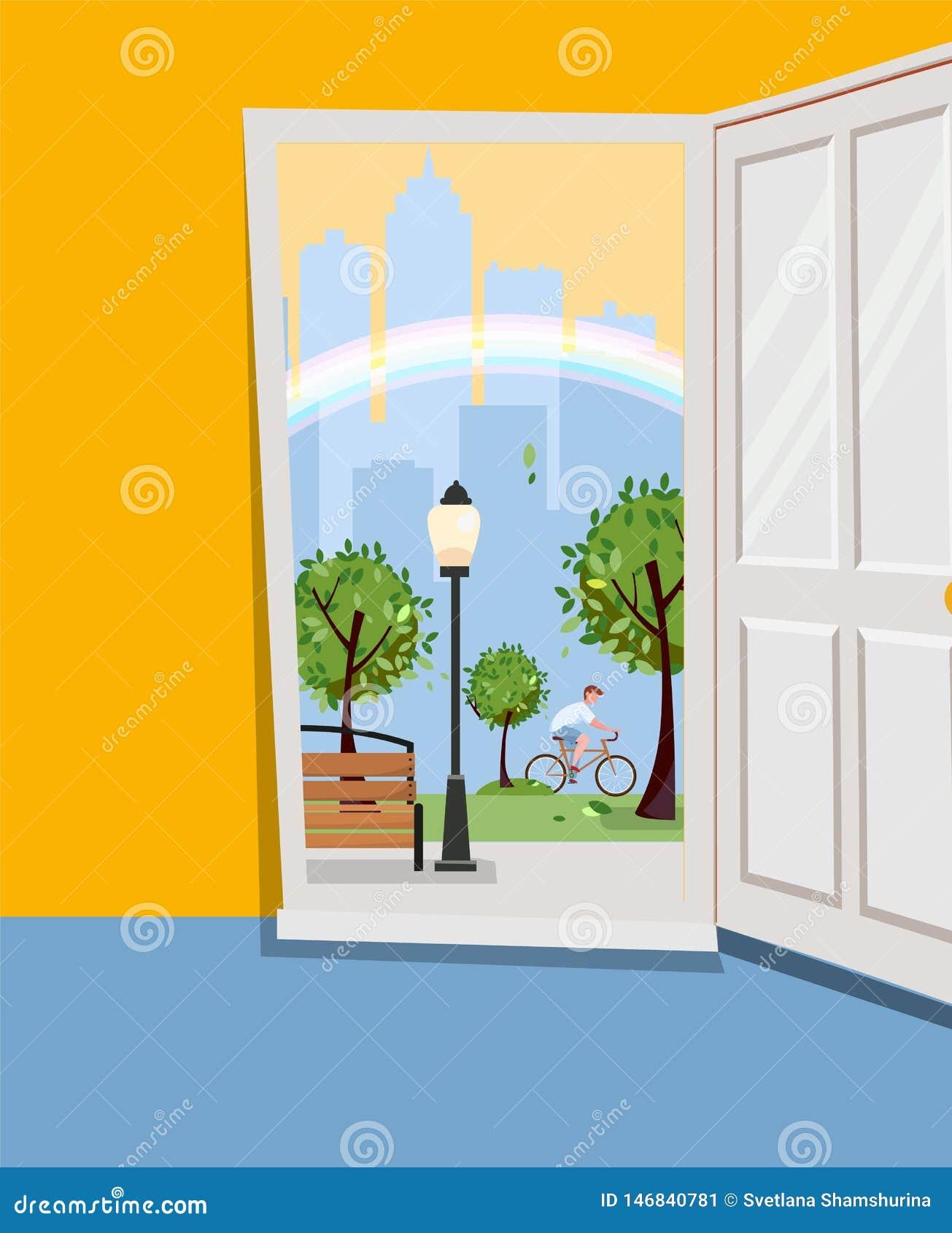Puerta blanca dentro de la casa con vista del paisaje urbano Parque exterior con los árboles verdes, siluetas de los rascacielos,